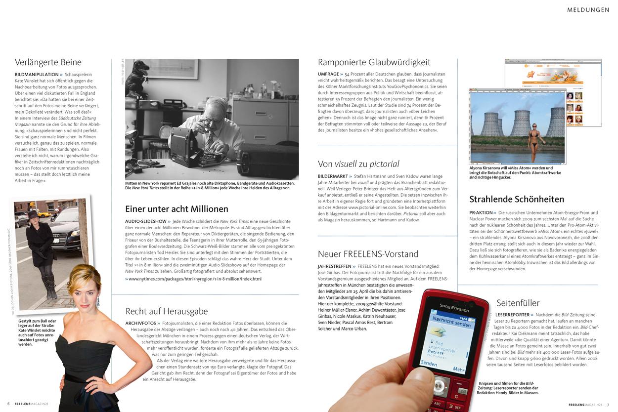 Inhaltsverzeichnis FREELENS Magazin