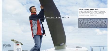 Jean Löffler prüft sein Segelflugzeug vor dem Abflug